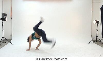 tiener, actie, breakdance, dancing