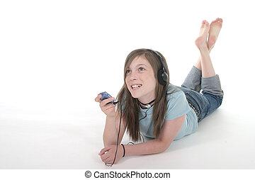 tiener, jonge, 1, muziek luisteren, meisje