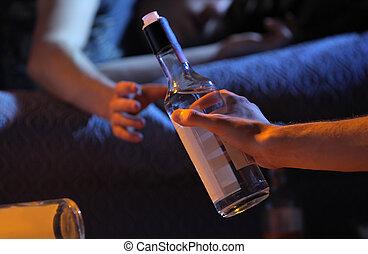 tiener, verslaving, concept, alcohol