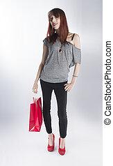 tiener, vrouw winkelen, zak, enkel, vasthouden, rood