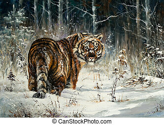 tiger, hout, winter