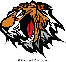 tiger, vector, mascotte, grafisch
