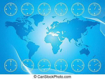 tijd, gebied, kaart, wereld