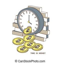 tijd, geld, concept