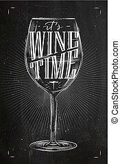tijd, krijt, poster, wijntje