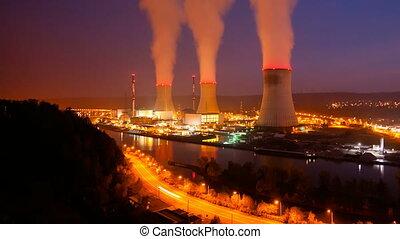 tijd, nacht, kerncentrale