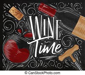 tijd, poster, wijntje, black