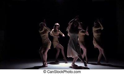 tijdgenoot, motie, kleren, vijf, black , dans, bevallig, schaduw, witte , vertragen, dansers