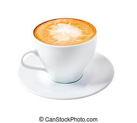 time., vrijstaand, cappuccino, laat, koffie