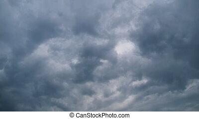 timelapse., hemel, wolken, storm, verhuizing