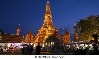 timelapse, motie, thailand, arun, wat, tempel