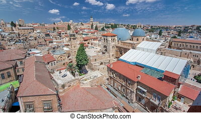 timelapse, stad, israël, oud, heilig, daken, sepulcher, koepel, jeruzalem, kerk