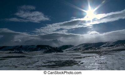 timen-afloop, wyoming, zonnig, winter