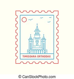 timisoara, blauwe , postzegel, orthodax, porto, illustratie, vector, lijn, rood, stijl