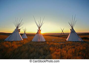 tipis, prairie, zonopkomst