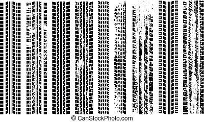 tires, silhouette, spoor, het spoor van de band, automobiel, set., rubber., vrijstaand, track., afdruk, spoor, auto., tracks., vector., grunge, straat, black