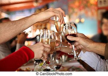 toast., bril, holdingshanden, vervaardiging, champagne, celebration., wijntje