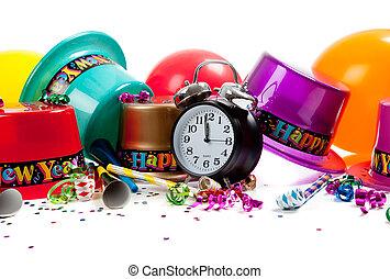 toebehoren, jaar, vrolijke , viering, nieuw, witte