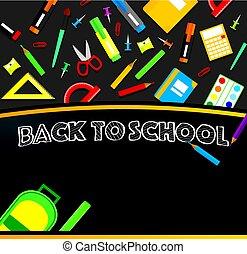 toebehoren, school, achtergrond., bord