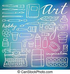 toebehoren, set., vector, kunst, illustratie