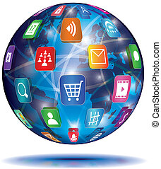 toepassing, concept., globe., icons., internet
