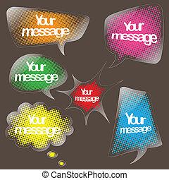 toespraak, duidelijk, set, bel, sticker