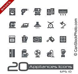 toestellen, huisgezin, //, iconen, grondbeginselen