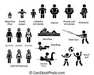 toestellen, uitrusting, zwemmen, recreatief, figuur, geitjes, pictogram., pool, aids, veiligheid, stok, water, iconen, kinderen, speelgoed