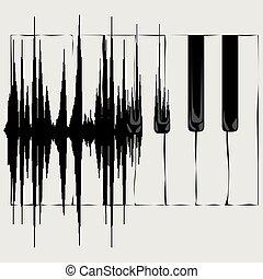 toetsenbord, geluidsgolf, piano