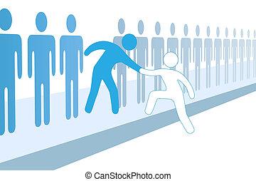 toevoegen, helpen, mensen, op, lid, team, nieuw