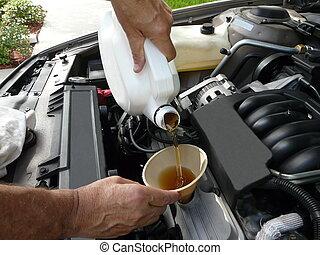 toevoegen, olie, auto