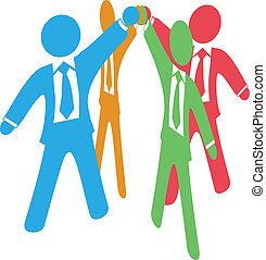 toevoegen, zakenlui, werken, op, handen, team
