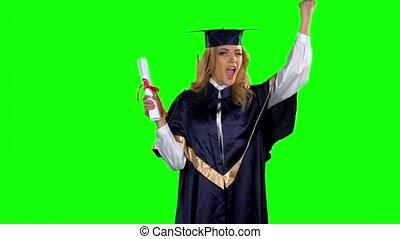 toga, vrouw, screen., afgestudeerd, motie, vertragen, groene, vasthouden, diploma.