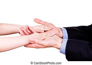 togethterness, vader, hand., steun, vertrouwen, holdingskind, concept.