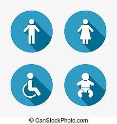 toilet, wc, vrouwlijk, icons., menselijk, mannelijke , of, signs.