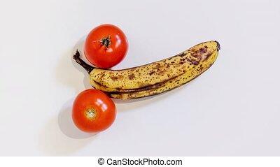 tomaten, twee, banaan, middelbare