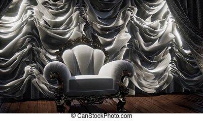 toneel, theater, stoel, luxueus, gordijn