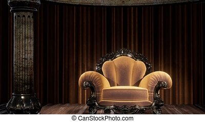 toneel, theatergordijnen, luxueus, stoel