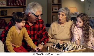 toneelstuk, foursome, schaakspel