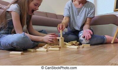 toneelstuk, gezin, houten, spel, toren, vrolijke