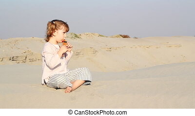 toneelstuk, klein meisje, pan-pipe
