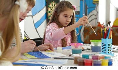 toneelstuk, schilderij, kamer, kinderen