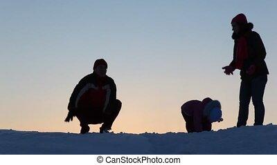 toneelstuk, silhouette, sneeuw, gezin