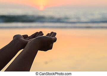 toneelstuk, silhouette, zon, tijd, ondergaande zon , handen, neach
