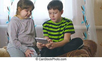 toneelstuk, tablet, kinderen