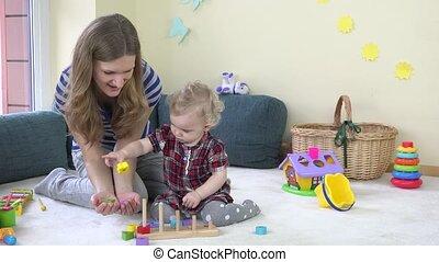 toneelstuk, vrouw, dochter, haar, kleurrijke, houten blokken