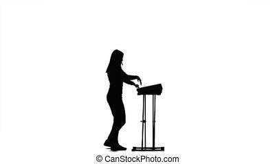 toneelstukken, beurt, helft, silhouette, piano, meisje