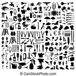 tools., illustratie, silhouettes, vector, gevarieerd, onderwerpen
