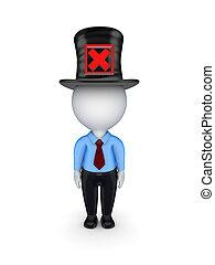 top-hat., mark, kleine, persoon, rood, 3d, kruis