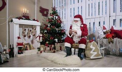 touchscreen, kamer, smartphone, zoom, kadootjes, boompje, kerstman, type, openhaard, kerstmis